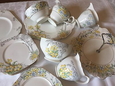 ART DECO Vintage English Bone China Tea Set Pieces STYLISED TREES Yellow Floral