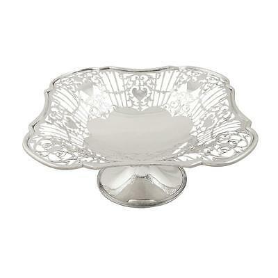 Antique Edwardian Sterling Silver Square Tazza / Dish  1910