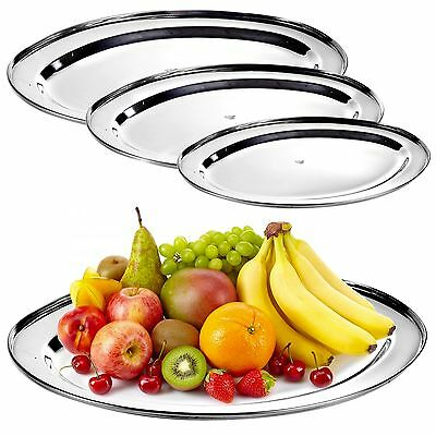 Oval Silver Effect Serving Plate Dinner Tray Platter Mirror Tableware Polished