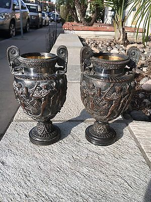 Pair  Antique Neoclassical  Townley  Vases Urns Silver Over Copper With Inserts