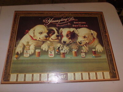 YUENGLING LAGER BEER PUPPY DOGS AT BAR POSTER  Signed by D Yuengling