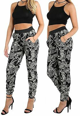 Womens Paisley Print Cuffed Buttom Harem Trouser Ladies Two Pocket Casual Pants