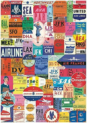 Vintage Airline Luggage Tag Wallpaper A4 Sized Edible Wafer Paper / Icing Sheet