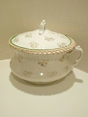 Antique 1924 Homer Laughlin Cream with Gold Floral Chamber Pot with Lid