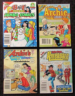 Archie Digest Magazine #19 21 38 252 Mixed LOT of 4 Betty Veronica Story & Game