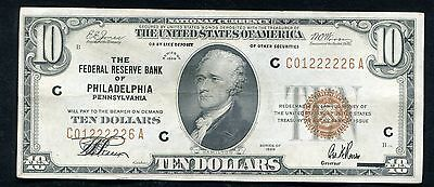 1929 $10 Frbn Federal Reserve Bank Note Philadelphia, Pa About Uncirculated