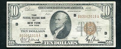 1929 $10 Ten Dollars Frbn Federal Reserve Bank Note New York, Ny