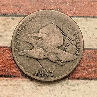 1857 1C Flying Eagle Penny Cent Vintage US Copper Coin #OL17 Very Sharp Appeal