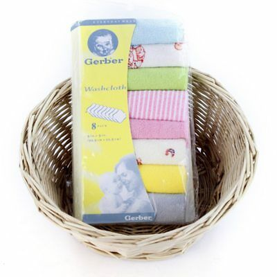 Pack of 8 baby kids soft wash cloth bath feeding towel flannel wipe mixed colour