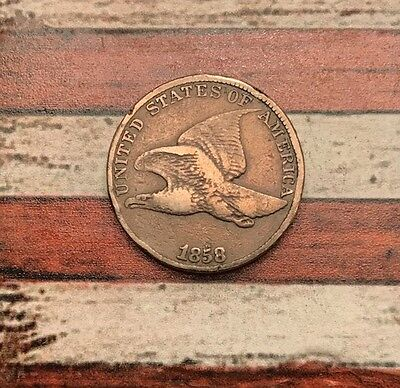 1858 1C Flying Eagle Penny Cent Vintage US Copper Coin #OL18 Very Sharp Appeal