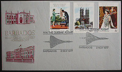 "Barbados 1977 Royal Visit Cover with ""H.M. The Queen's Flight"" Cancels"