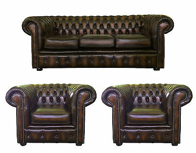 Genuine Leather Chesterfield Three Seater & Two Club Armchair Antique Brown