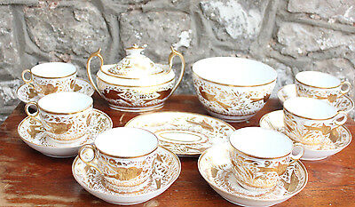 Rare Early Minton 470 Part Tea Set 1810 Handpainted Gilded Bird Georgian Mintons