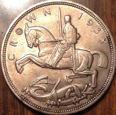1935 Uk Gb Great Britain Silver Crown - Golden Uncirculated