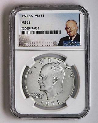 1971 S Silver Eisenhower Dollar $1 NGC MS 65