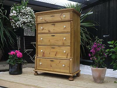Fantastic! Large & Unusual Old Antique Stripped Pine Chest Of Drawers/ Tallboy