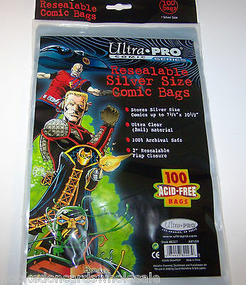 """1 Pack of 100 Ultra Pro 7 1/4"""" Silver Comic Book Storage Bags RESEALABLE"""