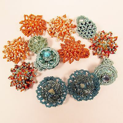 12 PCS  Handmade Beaded Stretch Rings WHOLESALE LOT Turquoise Orange Colors