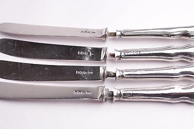4 Antique Solid Hallmarked Silver Butter Knives