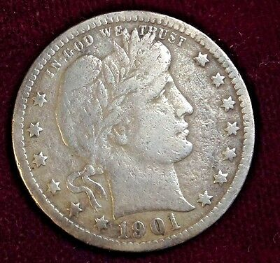 1901 United States Very Good+ (Vg+) Silver Barber Quarter!~