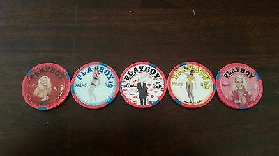 $5 Las Vegas Palms Playboy Club lot of 5 Casino Chips - All Uncirculated