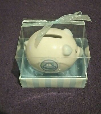 Russ Berrie Sealed Baby's First Piggy Bank - Blue