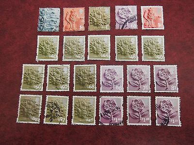 GB ENGLAND Regional stamps used lot different values to £1.33 Cat Value £36.50