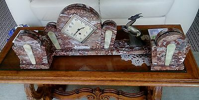 Lovely Antique Art Deco Marble Clock with Garnitures (open to sensible offers)