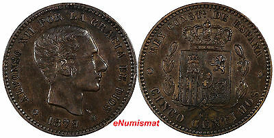 SPAIN Alfonso XII Bronze 1879 OM 5 Centimos Choice XF Condit. KM#674