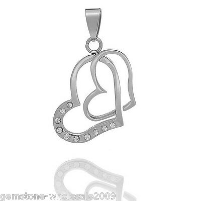 1PC Stainless Steel Double Hollow Hearts Pendant With Rhinestone Silver Tone GW