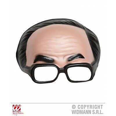 BLACK HAIR & GLASSES CHINLESS MASK WITH Accessory for Fancy Dress