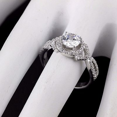 Womens Solid 925 Sterling Silver CZ Micro Pave Solitaire Engagement Ring