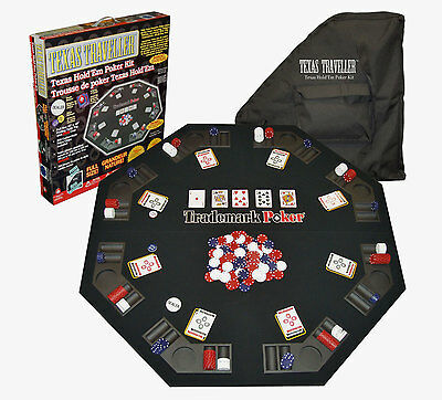 Folding Poker Table Top Octagon Texas Holdem 300 Chips Set Travel Portable