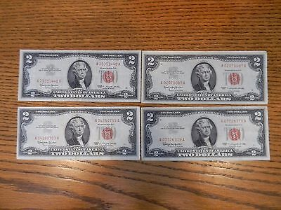 1963 $2 United States Note Red Seal (lot of 4) notes-shown