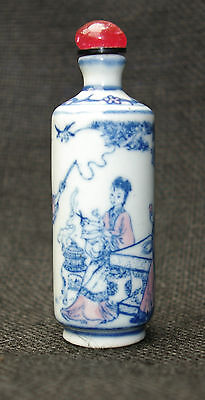 A 19 Th century blue and white Chinese snuff bottle