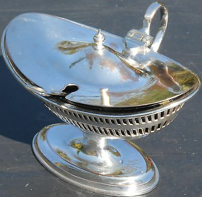 Antique Georgian Style Silver Plated Mustard Pot With Shovel