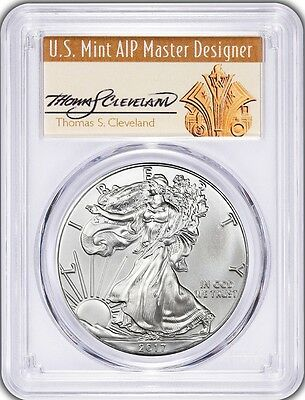 2017 Silver Eagle MS70 PCGS Signed Thomas S Cleveland  First Day Of Issue FDOI