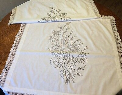 2 Antique Hand Embroidered Layover Pillow Sham Cover Lace Trim