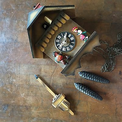 cuckoo clock Chalet With Chimney Sweep For Parts Or Repair