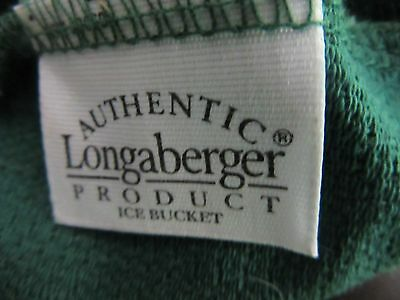 LONGABERGER Ice Bucket Basket Liner Ivy Green Fabric