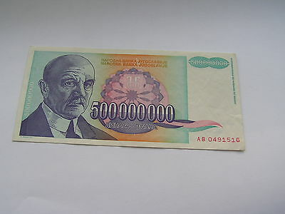 Yugoslavia 500 Million Dinar banknote, nice and crisp Jugoslavia L00B
