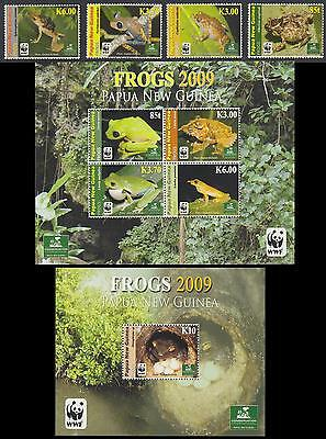 Papua NG WWF Frogs Set of 4v +Sheetlet of 4v +MS SG#1298/MS1303