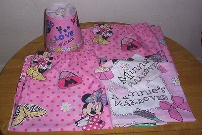 Disney Minnie Mouse Bedroom Set Curtains* Cot Bed Duvet Cover & Lampshade