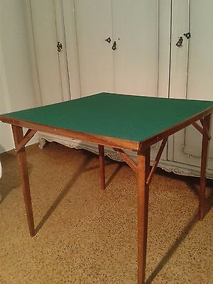 Portable Card Table Used Solid Wood Unique Folding Mechanism Green