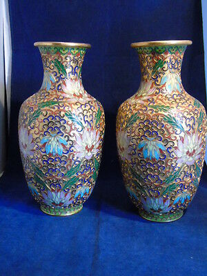 Pair Of Modern Matching Chinese Champleve Vases 14999 Picclick