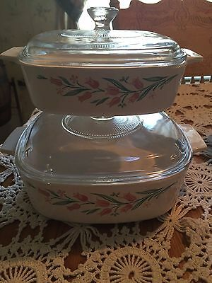 Corning Ware Corelle Pyrex Coordinating Rose Marie Casserole Dishes A-1-B &A-2-B