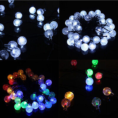 20Ft LED Crystal Ball Solar Powered Outdoor String Light for Outside Patio