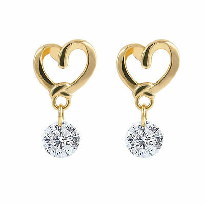 GORGEOUS GOLD colour  HEART DANGLE fashion CLEAR  CRYSTAL  ladies STUD earrings