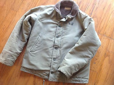 vintage mens 40s usn navy deck jacket military size 40