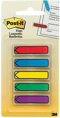 "3M Post-It Flags Arrows 5 Assorted Primary Colors .47"" x 1.7"" 100pc"